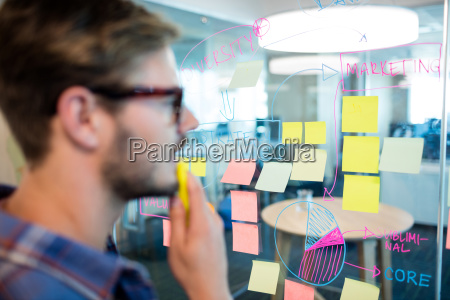 thoughtful man reading sticky notes on