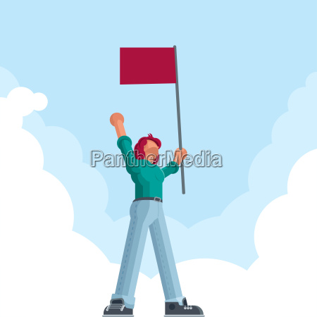 man with red flag
