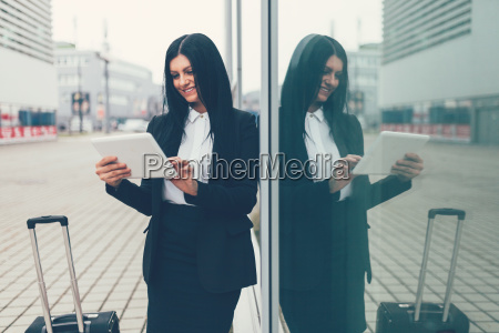 young business woman with tablet and