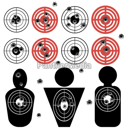 set of different bullet holes