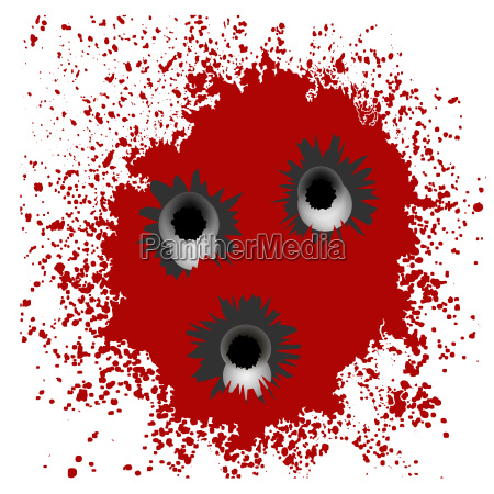 set of different bullet holes isolated