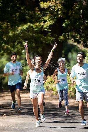 female athlete winning the marathon race