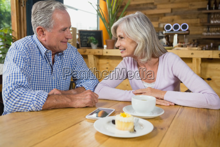 senior couple interacting with each other