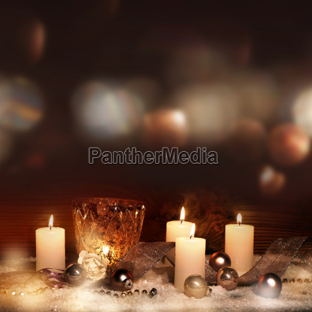 festive christmas decoration with candles