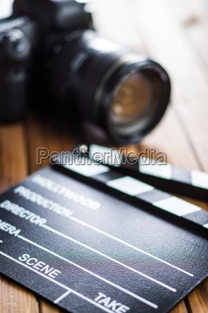 professional camera and clapper board