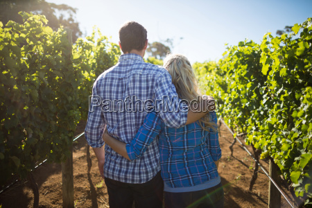 rear view of couple embracing at