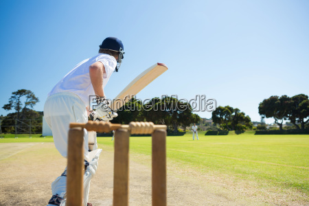 side view of cricket player batting