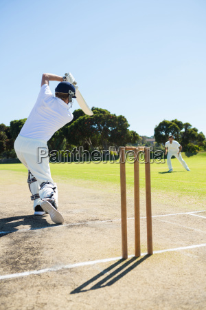 rear view of cricket player batting