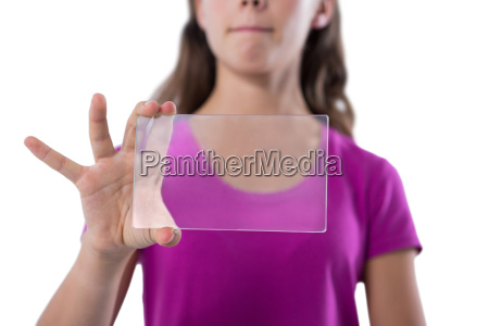 teenage girl using glass digital tablet