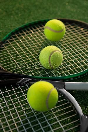 close up of tennis balls on