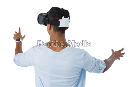 rear view of man using virtual