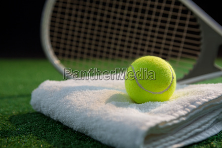 close up of tennis ball on