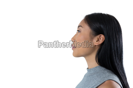 woman standing against white background