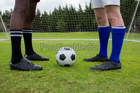 low section of male soccer players