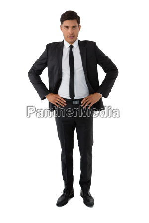 portrait of young businessman with hand