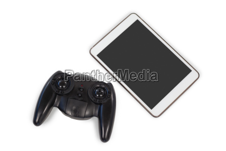 joystick and digital tablet on white