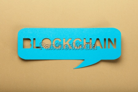 blockchain text on speech bubble