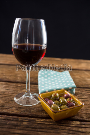 close up of marinated olives with