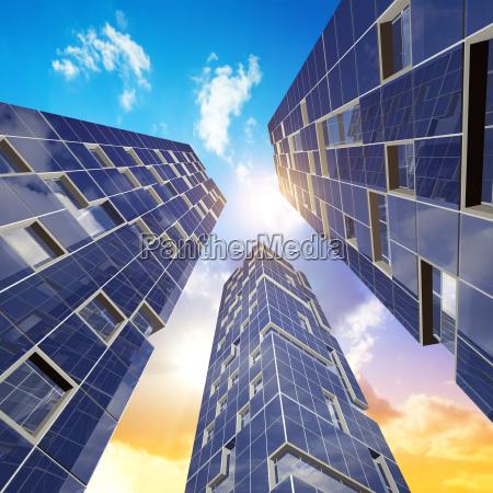 three skyscrapers 3d rendering scene