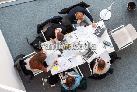 overhead picture of students studying in