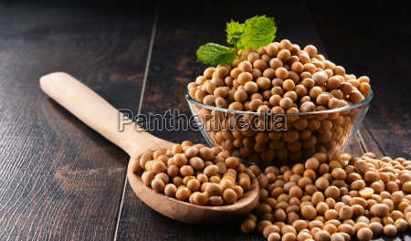 composition with bowl of soya beans
