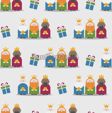 three kings and gifts seamless pattern