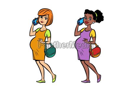 set black and white pregnant woman