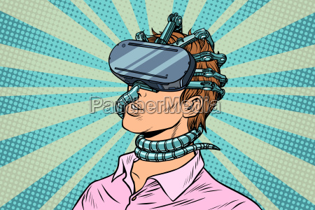 young man in a virtual reality