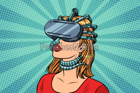 pop art woman in virtual reality
