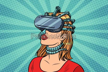 pop art woman in virtual reality