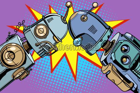 old robot vs new vintage illustrations
