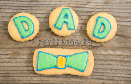 overhead view of cookies with dad