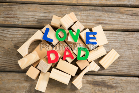 high angle view of love dad