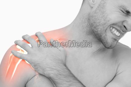 digital composite of highlighted shoulder pain