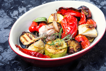 plate with grilled vegetables