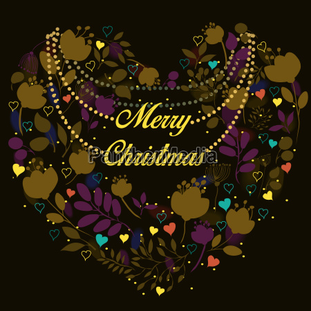 floral heart merry christmas greeting card