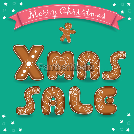 xmas sale merry christmas gingerbreads font