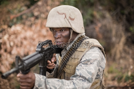 military soldiers during training exercise with