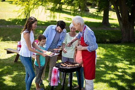 multi generation family enjoying the barbeque