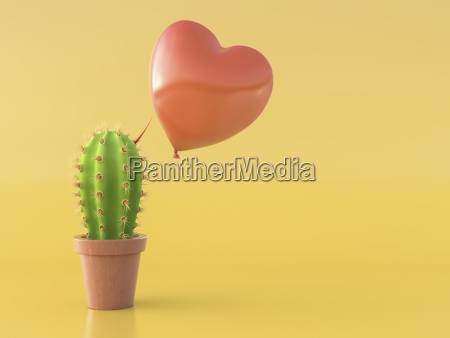balloon hovering over a cactus with