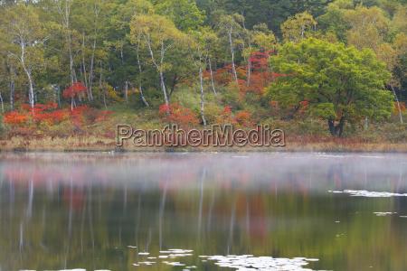 view across a calm lake to