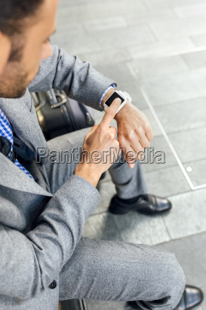 close up of businessman using his