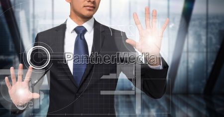 business man with flares on hands