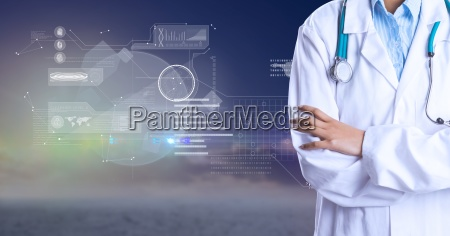 midsection of doctor against futuristic background