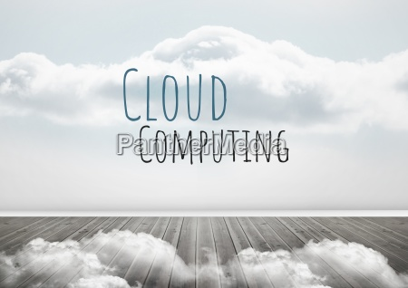 cloud computing text with clouds
