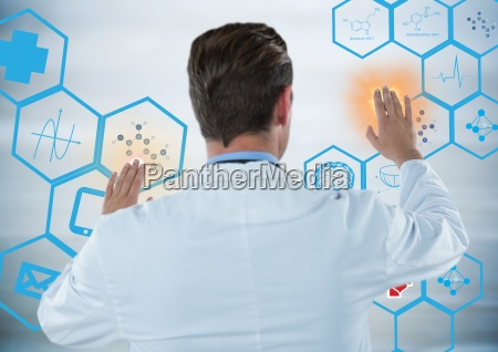 back of man in lab coat