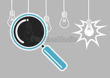 magnifying glass illustration searching lightbulbs for