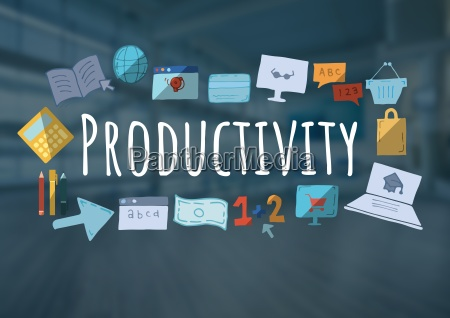 productivity text with drawings graphics