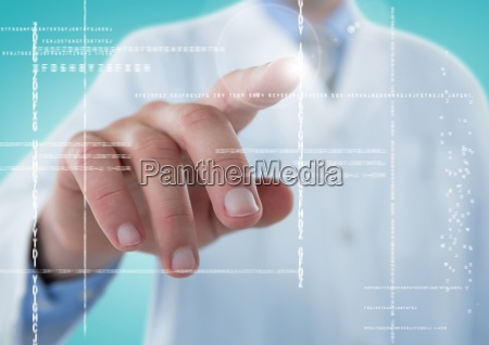 man in lab coat pointing at