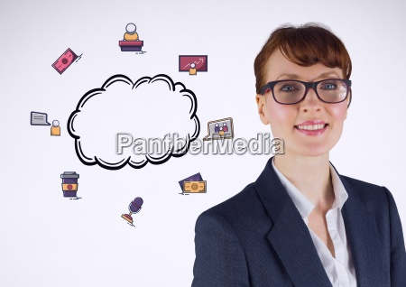businesswoman with cloud and business graphics